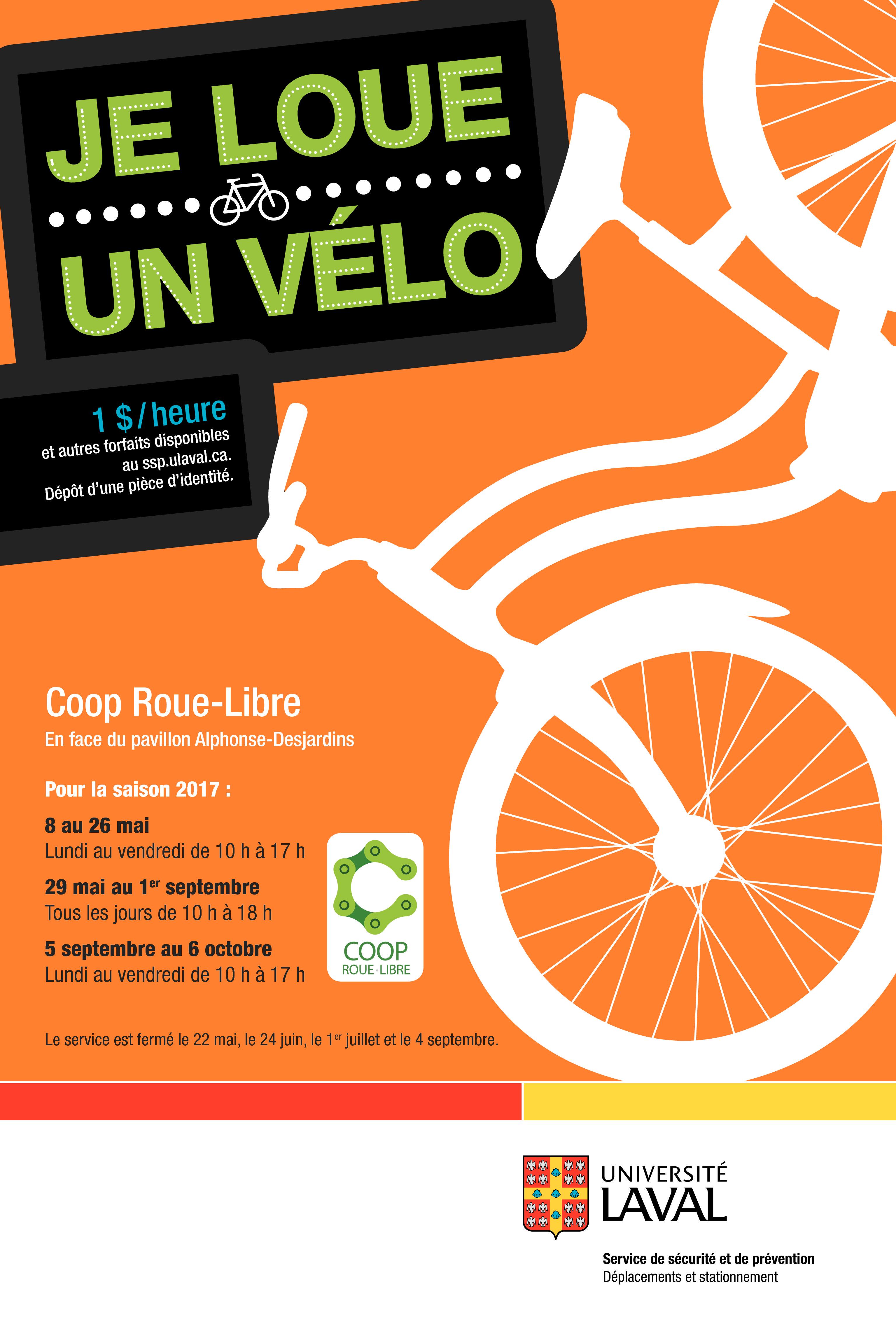 La coop Roue-Libre gère le service de location de vélo de l'Université Laval
